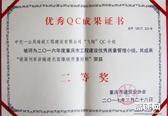 重庆市万利高速六分部两项QC成果获重庆市建筑业协会表彰