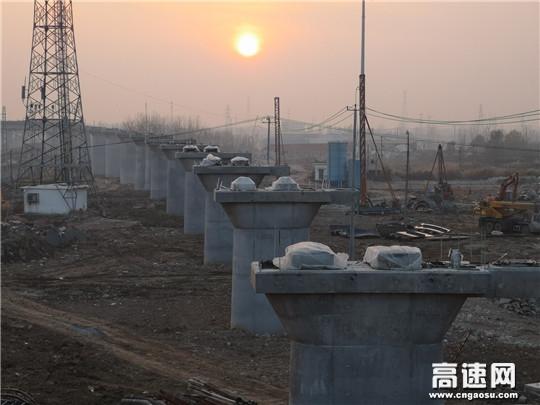 中铁十一局集团二公司连盐铁路连云港反向发车线特大桥顺利完工