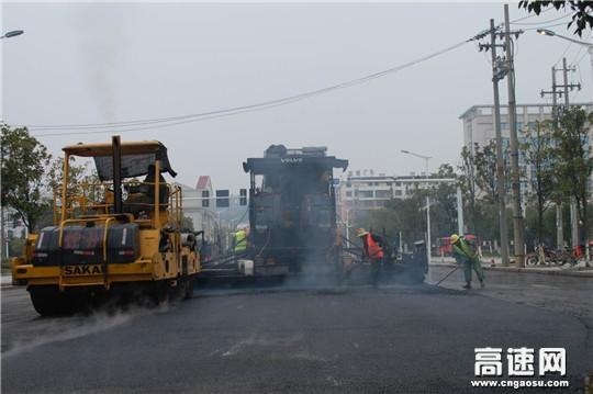 """江西:安福县城区道路""""白改黑""""工程建设如火如茶"""