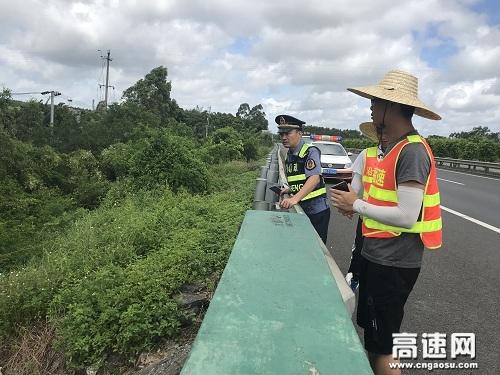 广西玉林管处合浦路政大队联合运营公司防洪防汛隐患排查