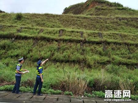 广西玉林高速公路管理处博白大队开展汛期道路安全隐患排查
