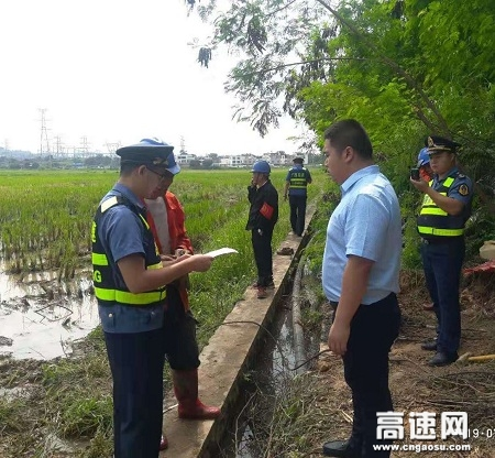 广西玉林高速公路管理处贵港二大队及时制止违法施工行为 依法保护路产维护路权