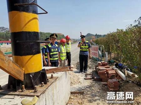 广西玉林高速公路管理处博白大队加强涉路施工检查,确保道路安全畅通
