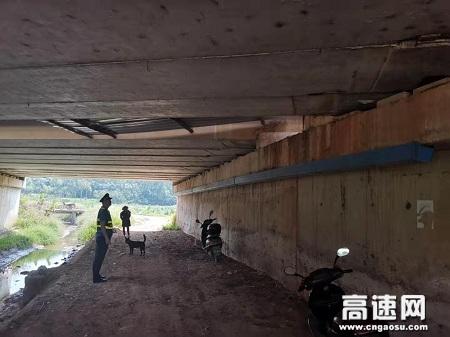 广西玉林高速公路管理处贵港二大队消除违章搭建 整治路域环境