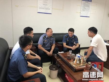 广西玉林高速公路管理处苍梧大队开展入口治超地磅检测项目建设监督协调工作