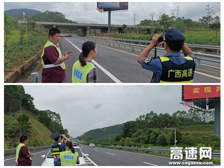 广西高速公路发展中心玉林分中心藤县大队开展广告牌安全隐患排查工作