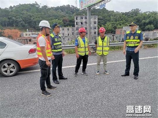 广西高速公路发展中心玉林分中心浦北大队进行专项检查监督确保高速公路安全畅通