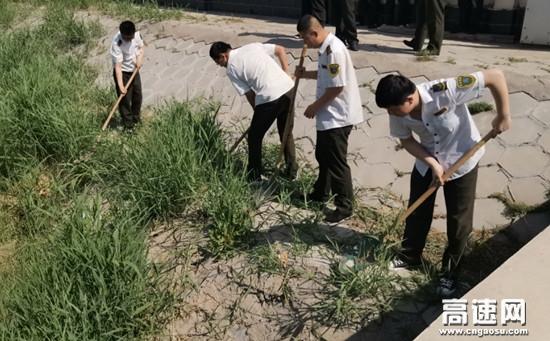 河北沧廊(京沪)高速孟村西收费站开展环境卫生清理活动