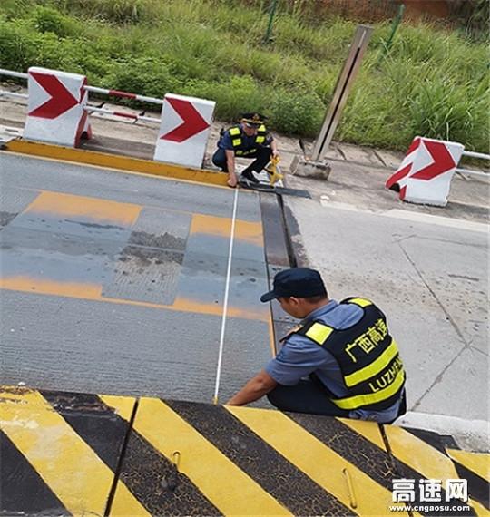 广西高速公路发展中心玉林分中心浦北大队开展核实收费站称重设备工作