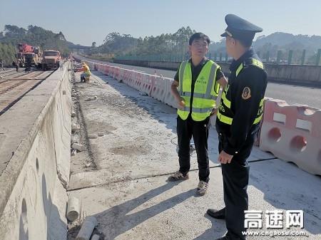 广西玉林高速公路桂平一大队加强涉路施工管理强化施工安全防护