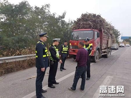 广西玉林高速公路桂平一大队路警联合重拳出击,整治甘蔗运输乱象
