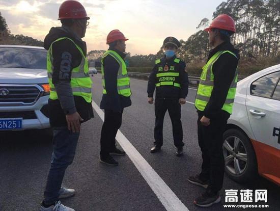 广西玉林桂平路政执法一大队对辖区涉路施工进行安全检查