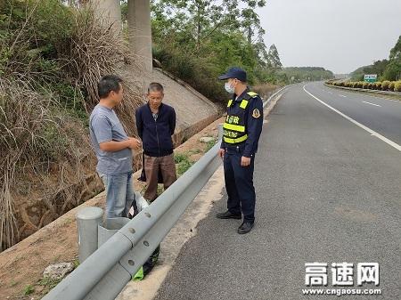 广西高速公路浦北大队劝离行,确保高速公路安全畅通